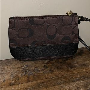 "Coach Brown and Black Wristlet 6"" x 4"""